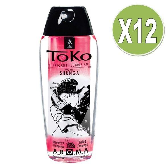 Shunga Toko Aroma Lubricante Fresas con Cava (x 12 Uds)