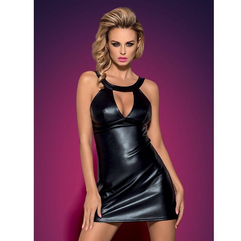 Obsessive Darksy Vestido Leather Negro & Tanga