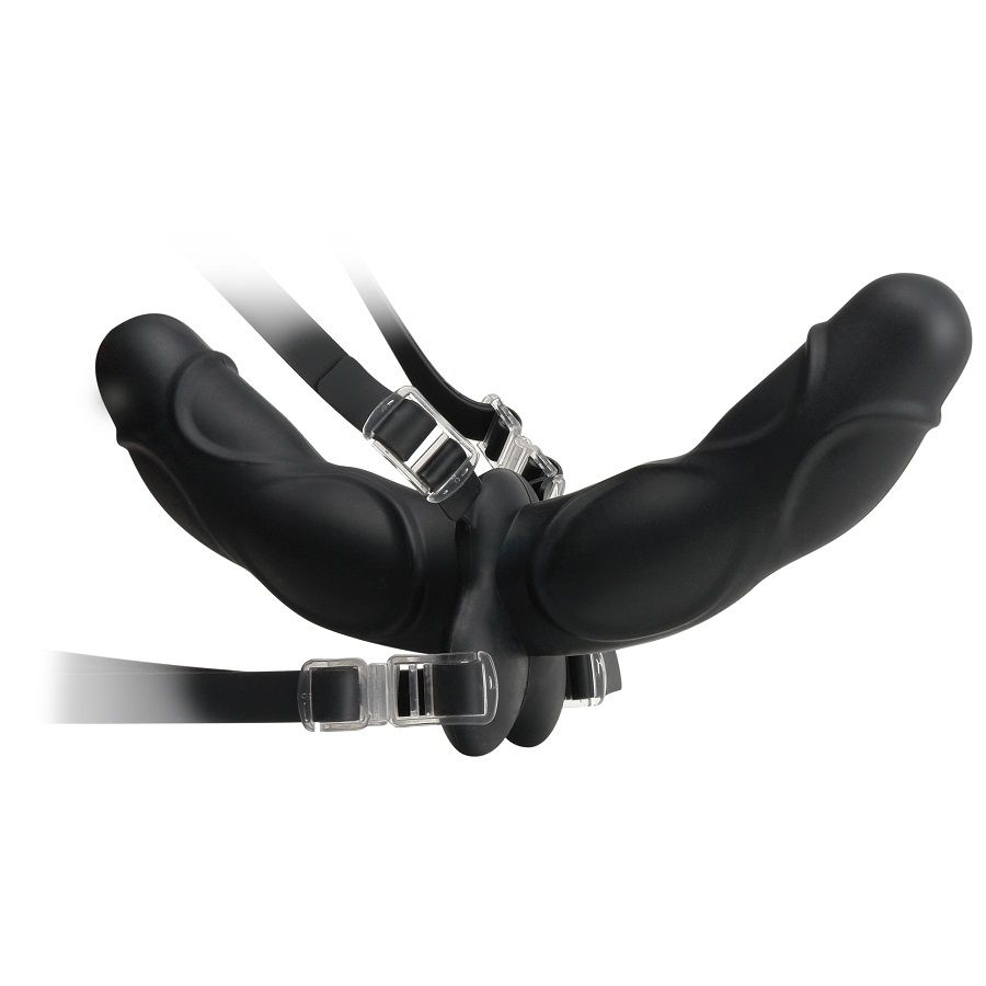 Fetish Elite Double Delight Strap-On Negro 11.5cm