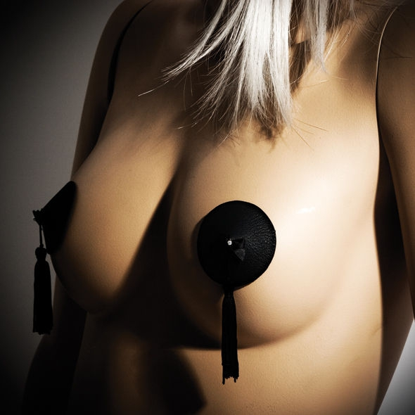 Burlesque Cubrepezones Negro Bijoux 2
