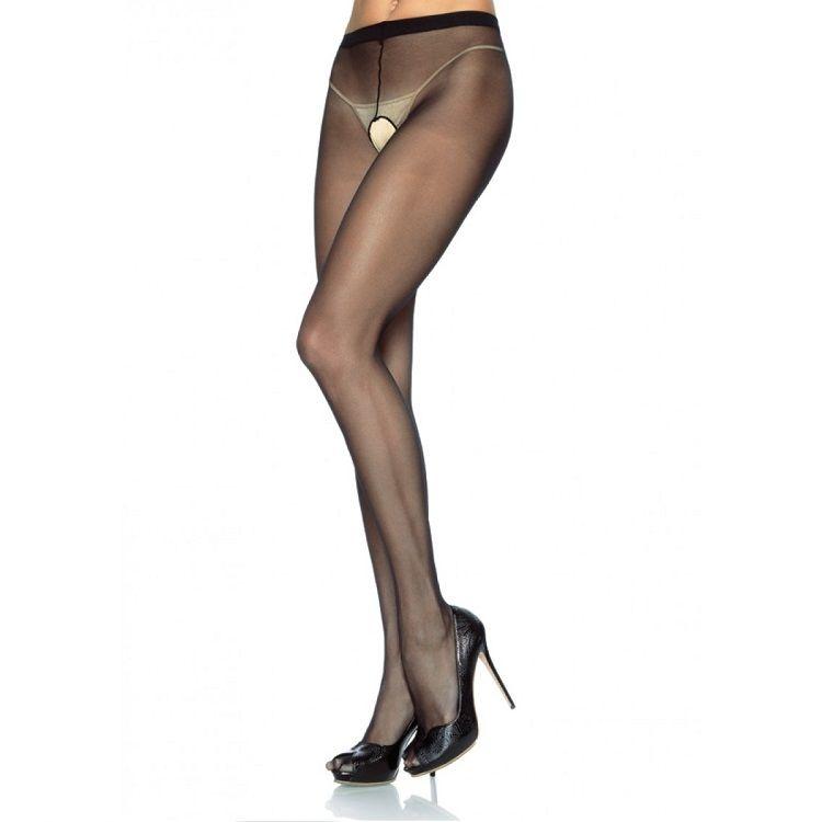 Leg Avenue Panties de Nylon con Abertura en la Entrepierna Negro 1