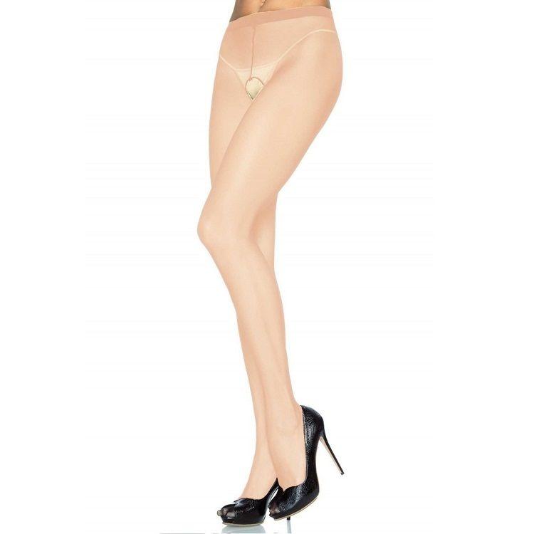 Leg Avenue Panties de Nylon con Abertura en la Entrepierna Beige 1