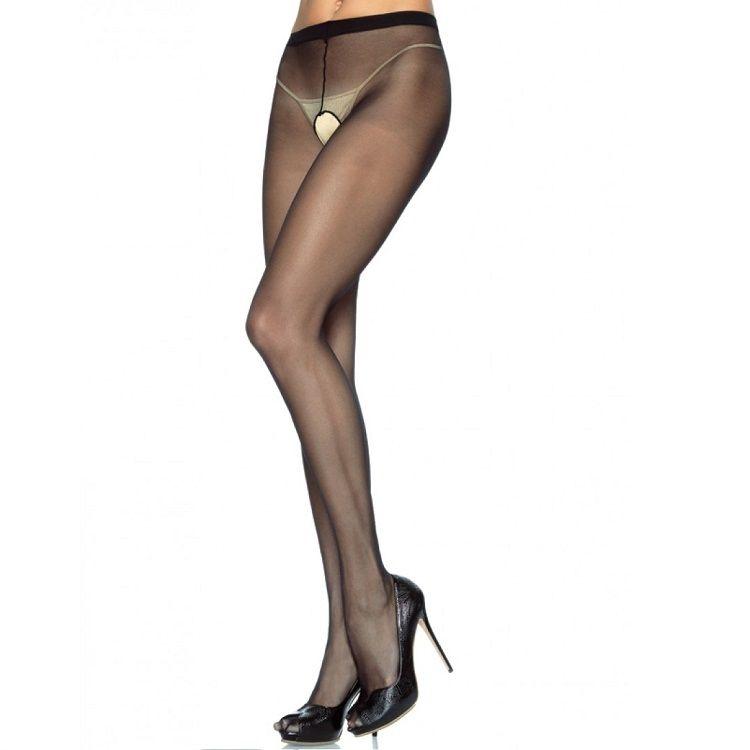 Leg Avenue Panties de Nylon con Abertura en la Entrepierna Plus 1