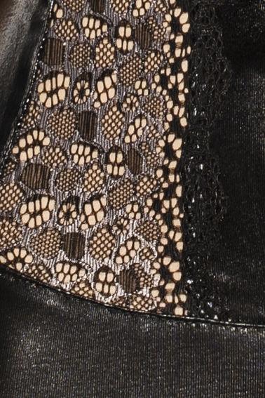 Passion Marie Chemise & Tanga Negro Leather  1