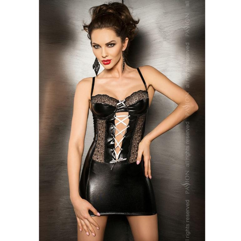 Passion Marie Chemise & Tanga Negro Leather  2