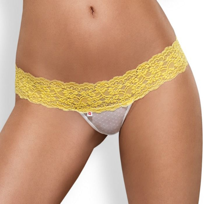 Obsessive Pack Tanga + Shorties Lacea Amarillo y Blanco  3