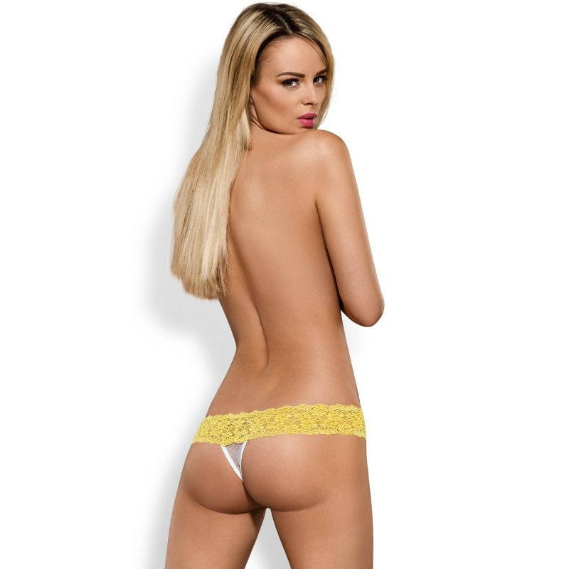 Obsessive Pack Tanga + Shorties Lacea Amarillo y Blanco  2