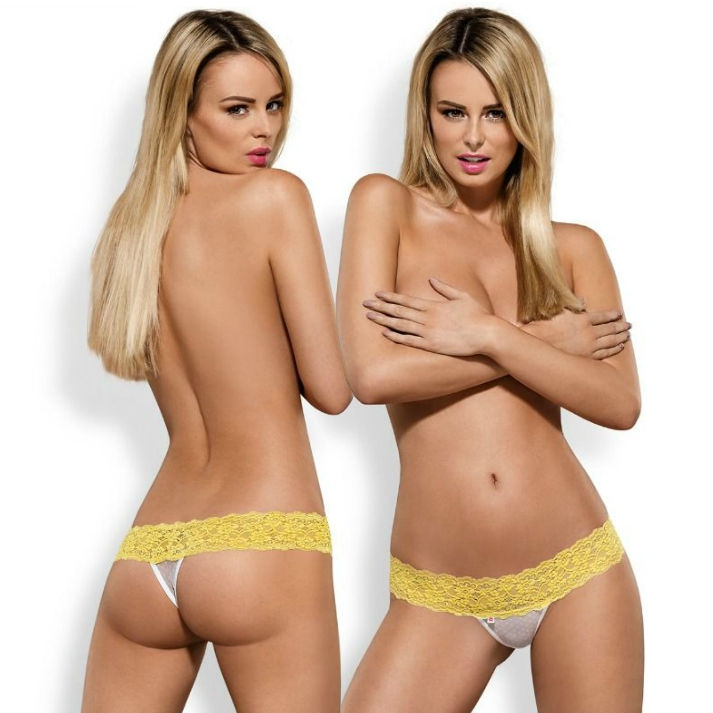Obsessive Pack Tanga + Shorties Lacea Amarillo y Blanco  5