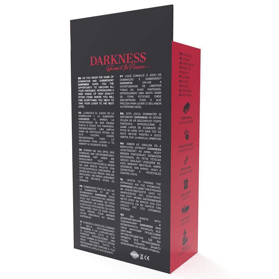 Darkness Esposas Cuero Ajustables Pies Negro 6