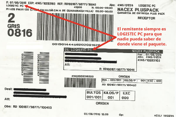 Etiqueta del envío